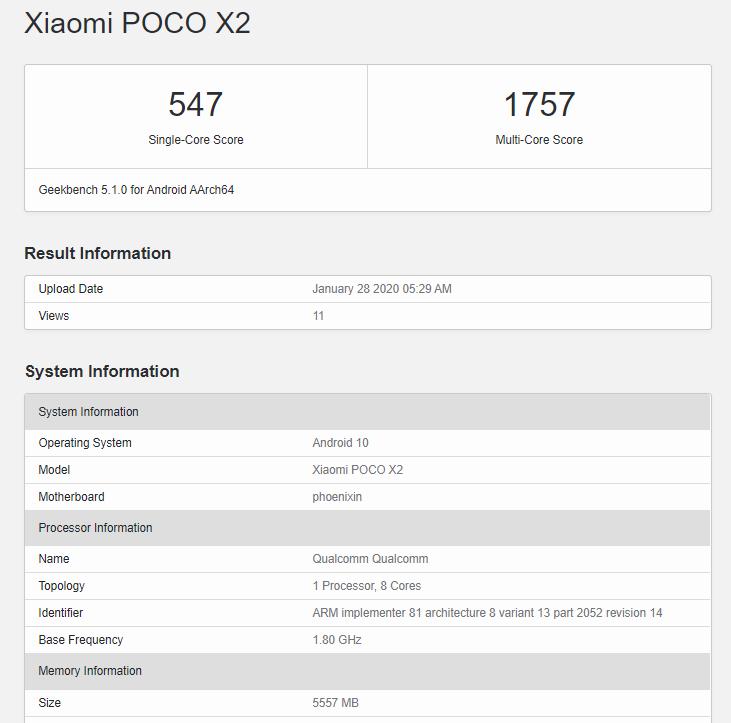 тест Geekbench 5 POCO X2