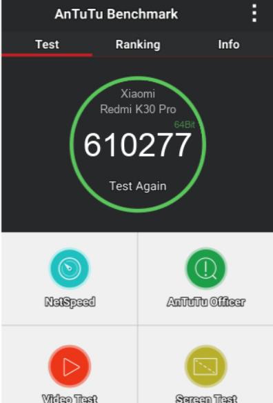 XIAOMI REDMI K30 PRO ANTUTU BENCHMARK TEST